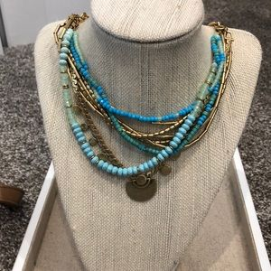 Stella & Dot Blue and gold layered necklace.